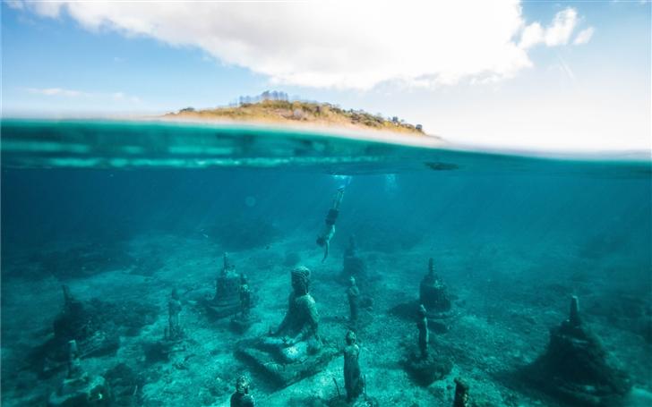 Underwater Buddha Garden Mac Wallpaper
