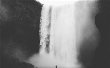 lone person with waterfal... Mac wallpaper