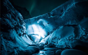 Exploring the icecave at ... Mac wallpaper