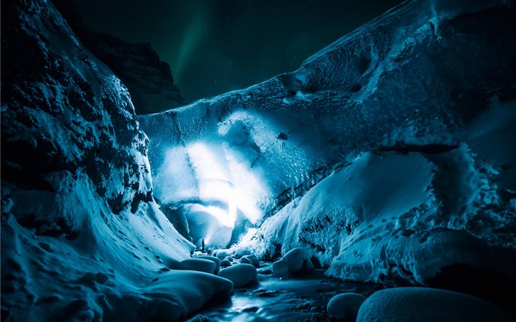 Exploring the icecave at ... Mac Wallpaper