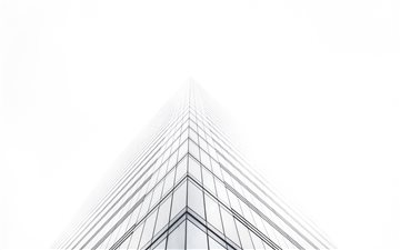 Office building in mist Mac wallpaper