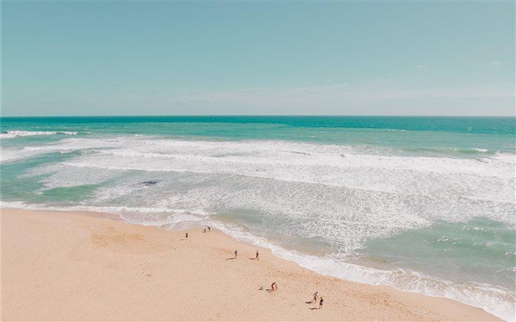 Drone view of sand beach Mac Wallpaper