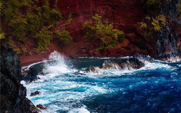 Red sand ocean bay Mac wallpaper