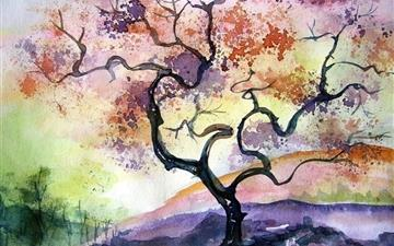 Watercolor Tree Painting Mac wallpaper