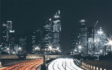 Cityscape and traffic lig... Mac wallpaper