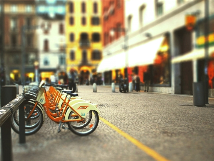 Cityscapes Streets Bicycles Blur Mac Wallpaper
