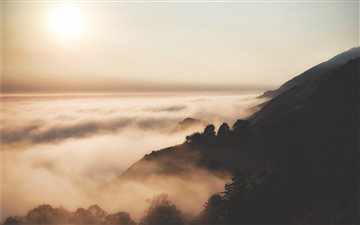 Big Sur forest sunrise iMac wallpaper