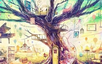 Painting Girl Animal Tree Mac wallpaper