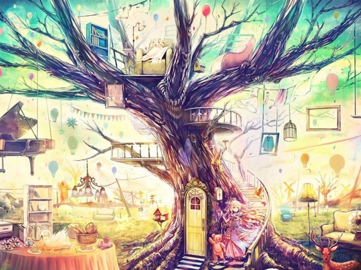 Painting Girl Animal Tree Mac Wallpaper