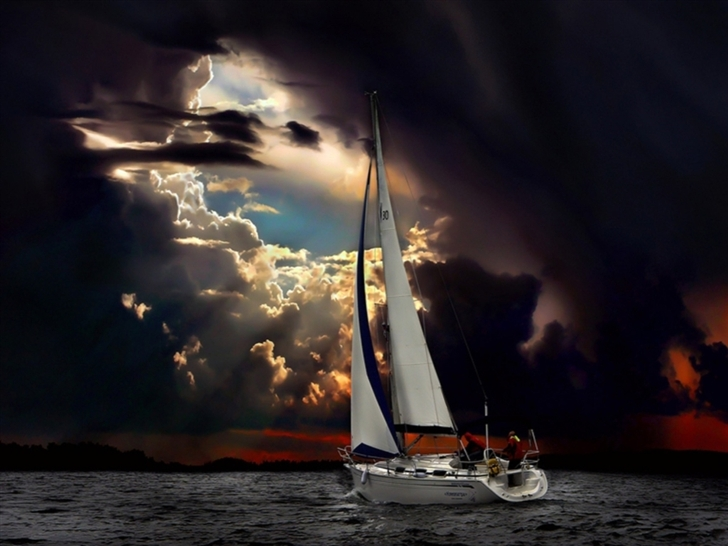Navigation Sea Dark Clouds Storm Mac Wallpaper