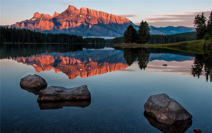 Lake Minnewanka Sunrise Mac Wallpaper