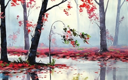Art Autumn Trees River