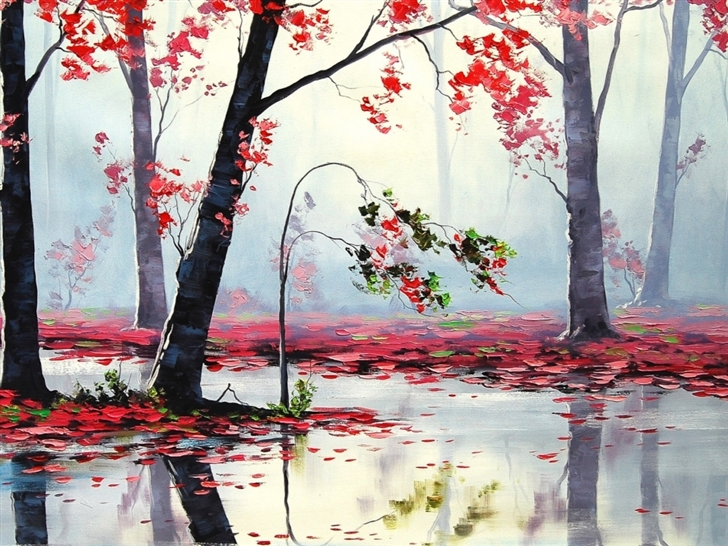 Art Autumn Trees River Mac Wallpaper