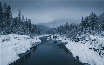 river surrounded by snow ... Mac wallpaper