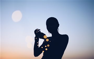 silhouette photo of woman Mac wallpaper