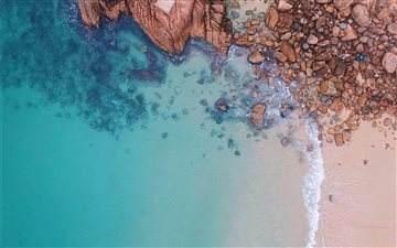 aerial view of rocks near... Mac wallpaper