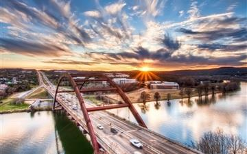 Pennybacker Bridge Sunrise Austin Texas United States All Mac wallpaper