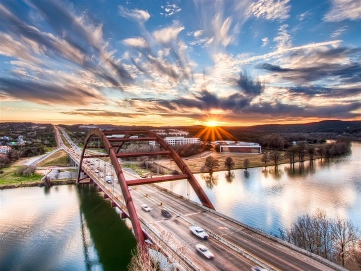 Pennybacker Bridge Sunrise Austin Texas United States Mac Wallpaper
