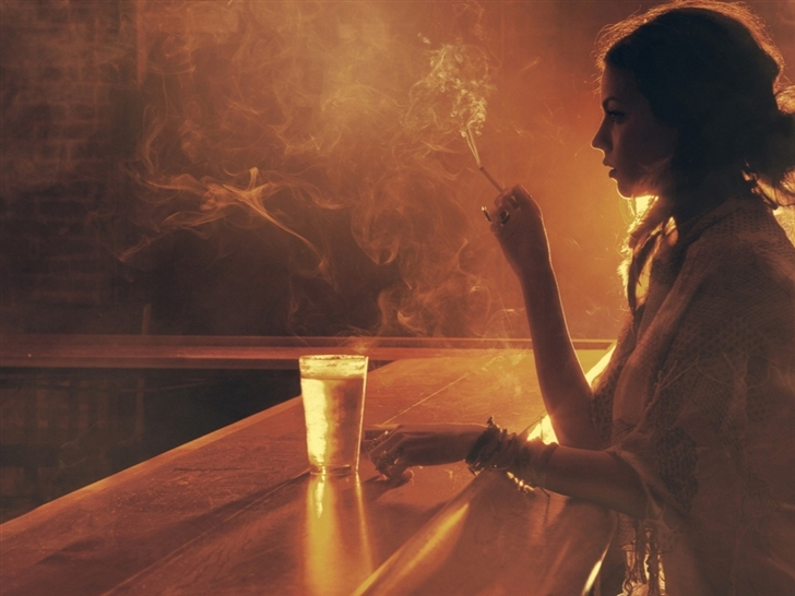 Bar illuminated lone sepia girl Mac Wallpaper