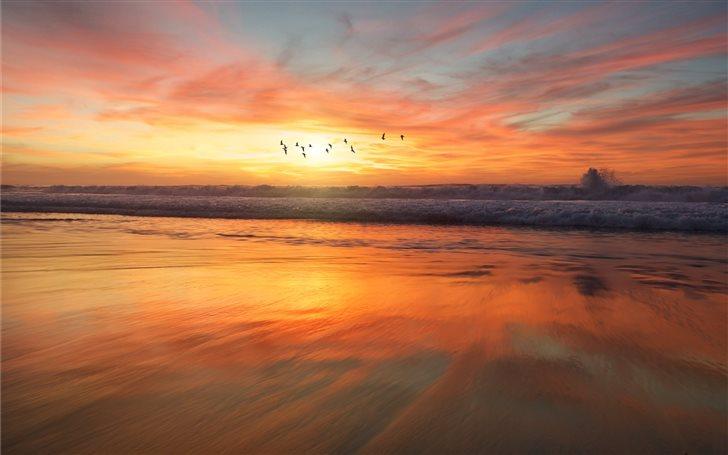 shoreline during golden hour Mac Wallpaper