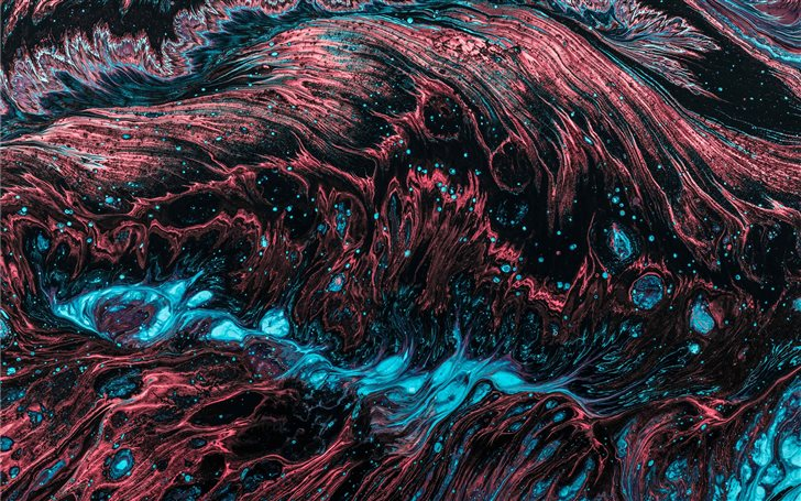 red and blue fluid abstract painting Mac Wallpaper