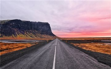 asphalt road and cliff horizon All Mac wallpaper