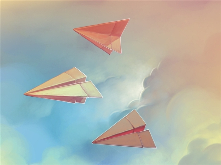 Three paper airplane Mac Wallpaper
