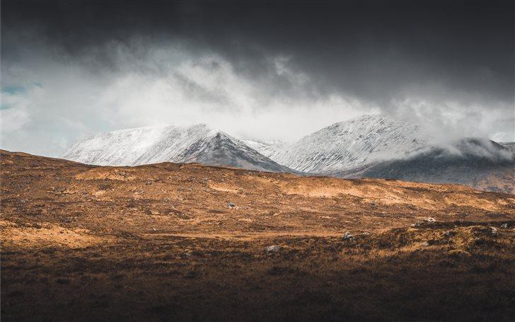 glacier mountain and brown field Mac Wallpaper