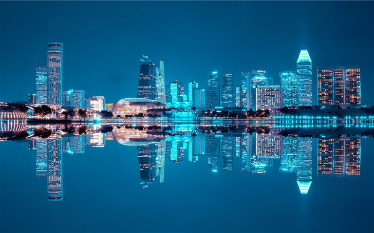 water reflect photography of cityscape Mac Wallpaper