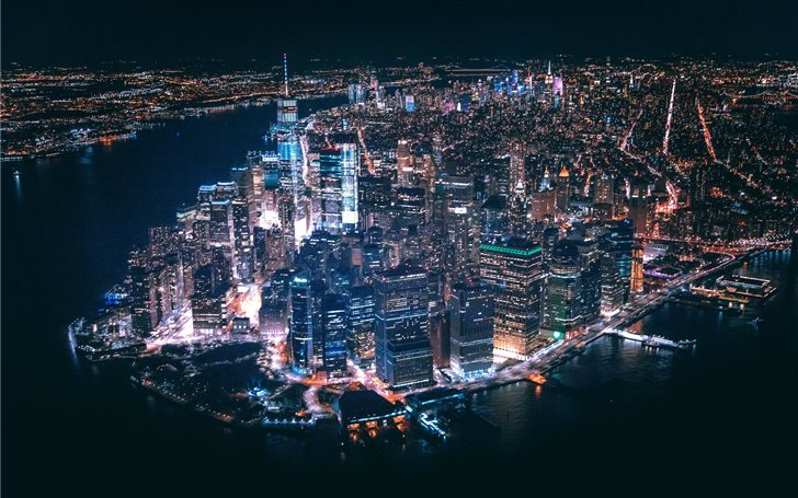 aerial view of city buildings during nighttime Mac Wallpaper