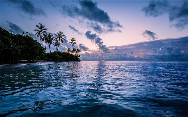 body of water near coconut trees Mac Wallpaper