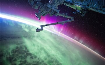photography of purple and green aurora beam below iMac wallpaper