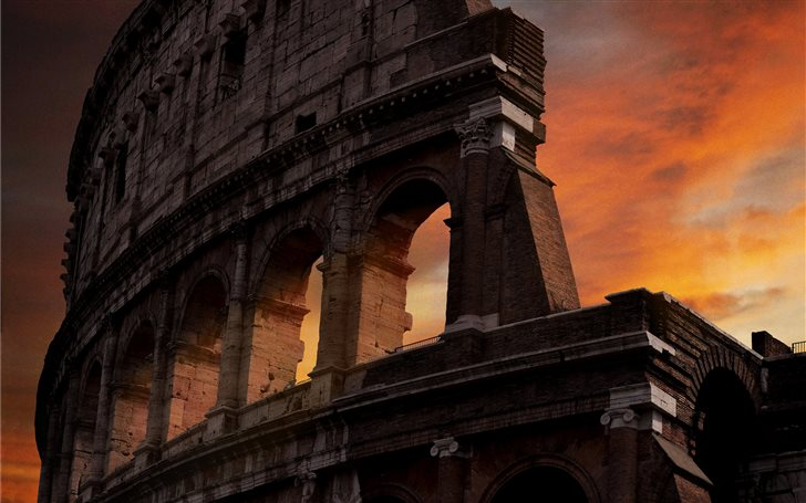 photo of Colosseum during golden hour Mac Wallpaper