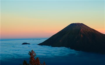 high angle photography of volcano and clouds All Mac wallpaper
