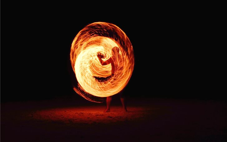 timelapse photography of person fire dancing Mac Wallpaper