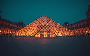 The Louvre Museum during night All Mac wallpaper