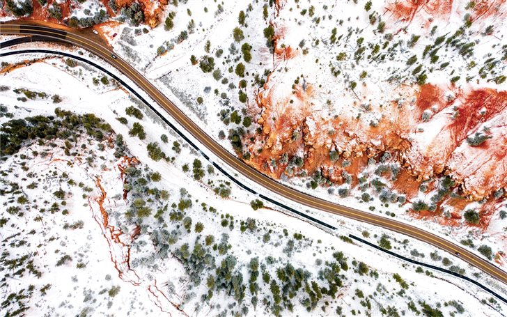 aerial photography of farm road Mac Wallpaper