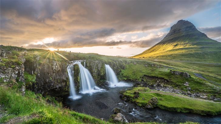 waterfalls and mountain Mac Wallpaper