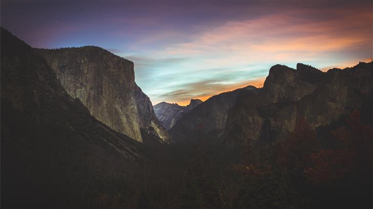 grey mountains during sunset Mac Wallpaper