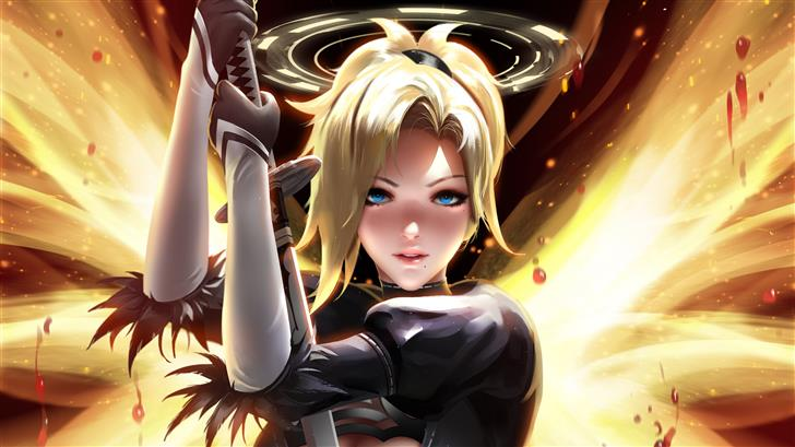 mercy overwatch fantasy art 5k Mac Wallpaper