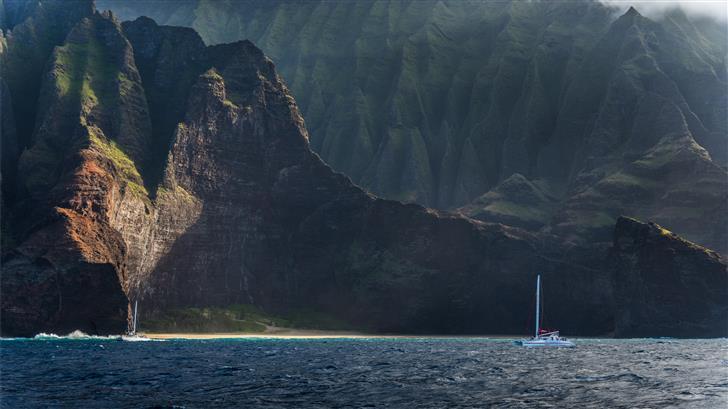 blue boat on sea Mac Wallpaper