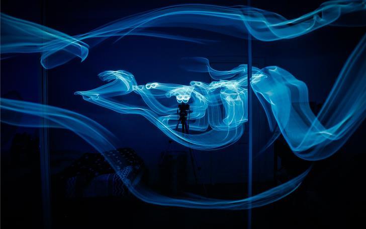 blue smoke inside room Mac Wallpaper