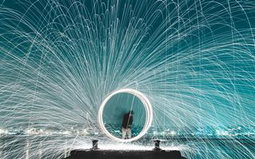 man standing on dock steel wool photography MacBook Air wallpaper