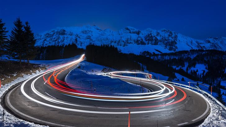 time lapse photography of curve road Mac Wallpaper