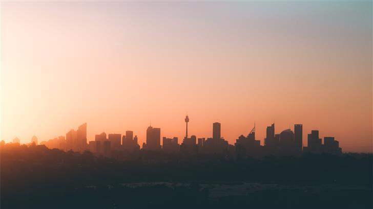 silhouette of high rise buildings Mac Wallpaper