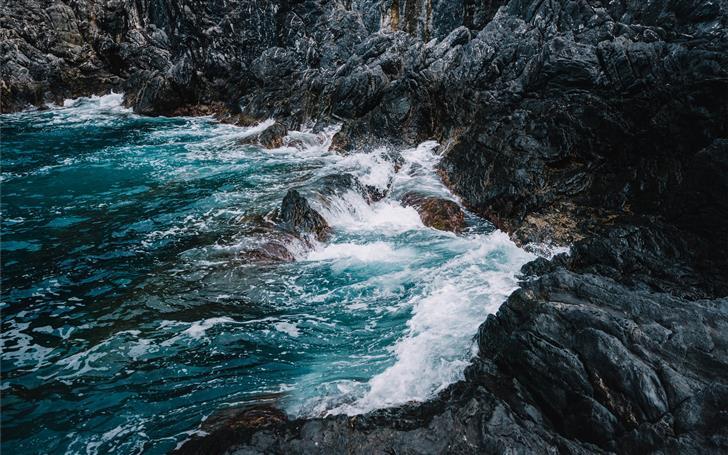 ocean waves on rocks Mac Wallpaper