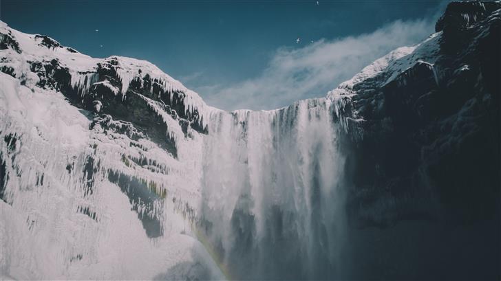 waterfalls under blue sky Mac Wallpaper