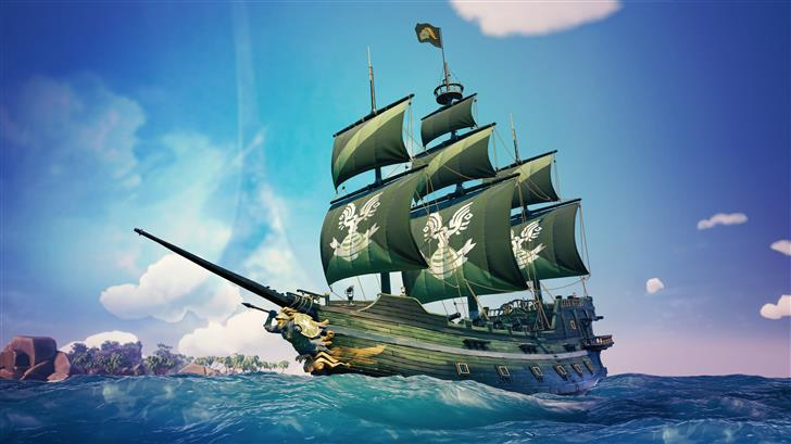 sea of thieves spartan ship 8k Mac Wallpaper