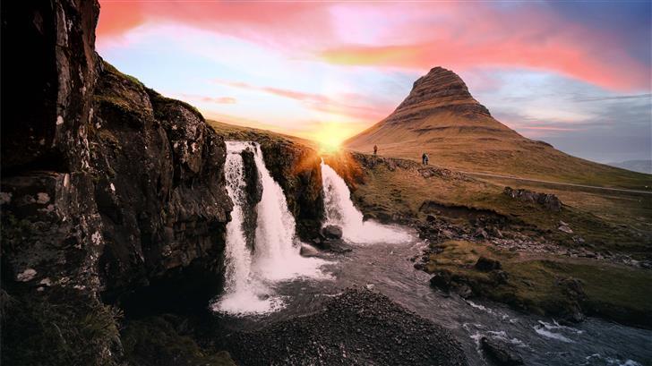 waterfalls between rock formation at golden hour Mac Wallpaper