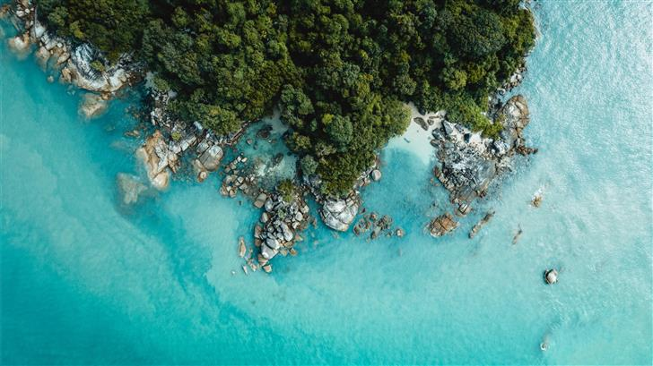 aerial photography of island Mac Wallpaper